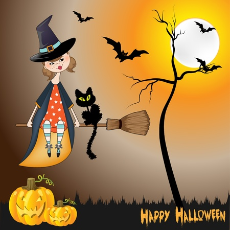 Halloween witch background Stock Vector - 11022220