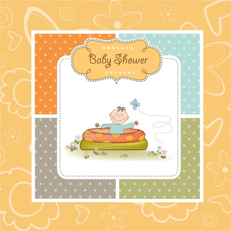 Baby bathe in a small pool . shower announcement card Stock Vector - 11023257