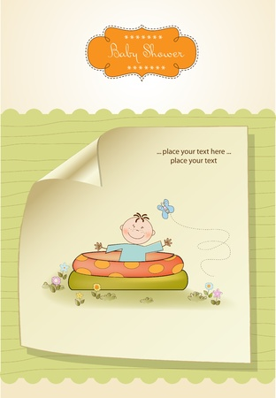 Baby bathe in a small pool . shower announcement card  Vector