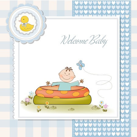 Baby bathe in a small pool . shower announcement card Stock Vector - 11023221