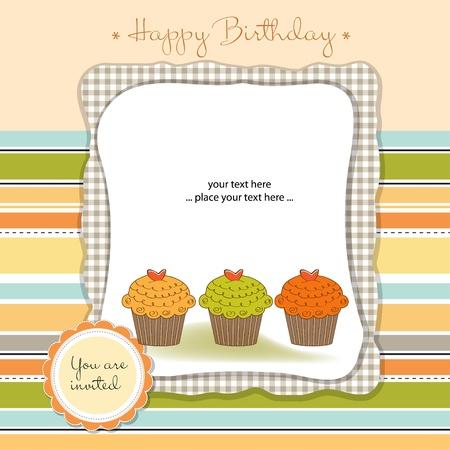 buttercream: Buon Compleanno Cupcakes Vettoriali