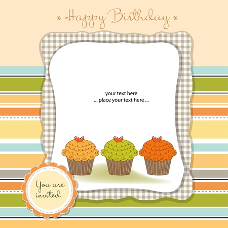 birthday cupcakes: Happy Birthday cupcakes Illustration