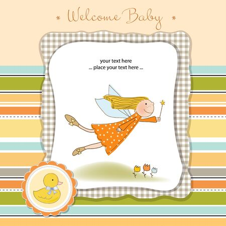 welcome baby card with fairy Vector