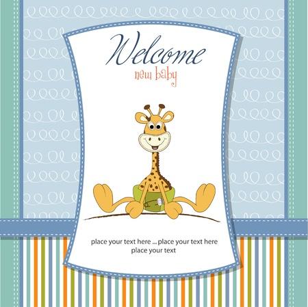 invitacion bebe: nuevo aviso del beb� con el beb� jirafa