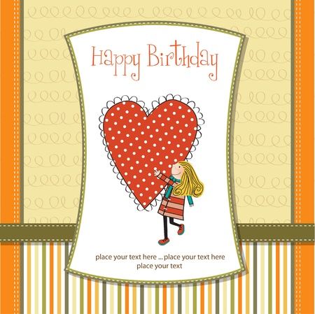 happy birthday card with a girl Vector