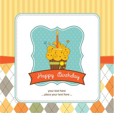 Happy Birthday cupcake  Stock Vector - 11022731