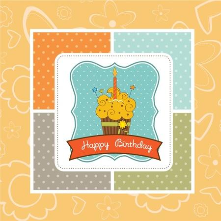 Happy Birthday cupcake  Vector