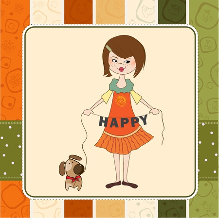 happy girl with her playful dog  Vector