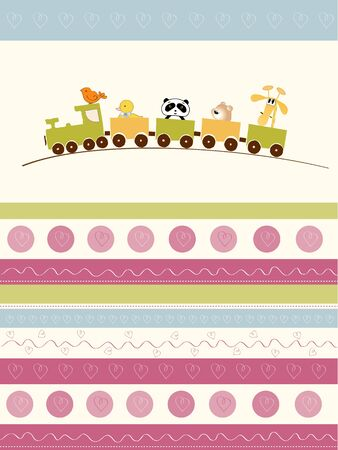 welcome baby card with animal train Vector