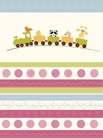 welcome baby card with animal train Ilustração Vetorial