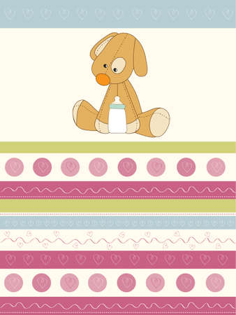welcome baby card with puppy Vector