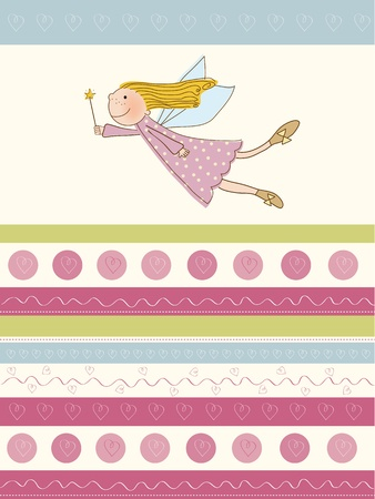 welcome baby card with fairy Illustration