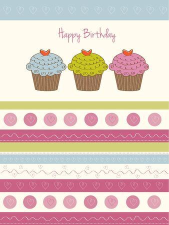 미니: 생일 컵 케이크 일러스트