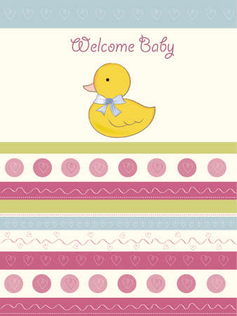welcome baby card with duck Vector