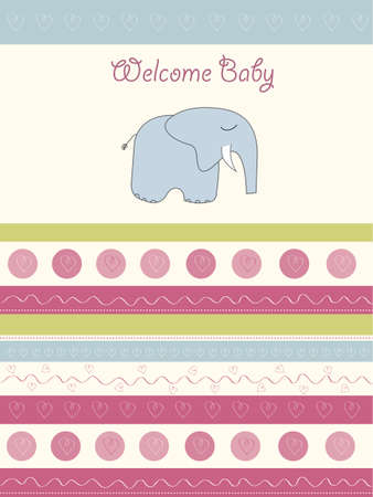 welcome baby card with elephant Vector