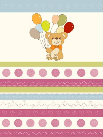 welcome baby card with teddy bear and balloons Vector