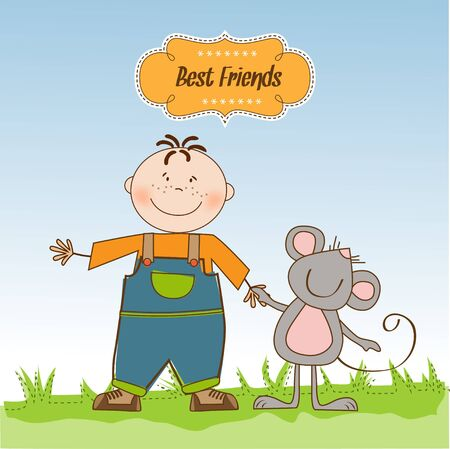 little boy with his best friend Stock Vector - 11007732