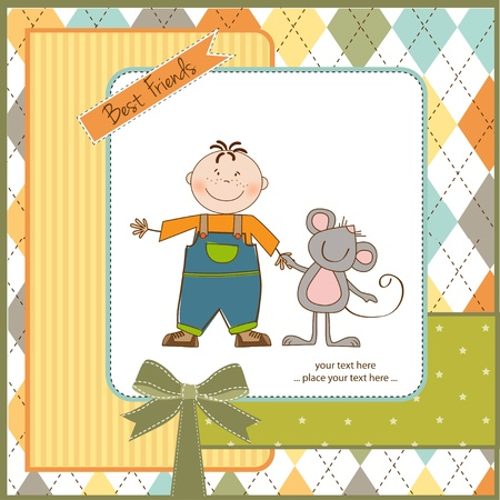 little boy with his best friend Stock Vector - 11007761