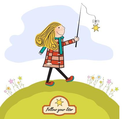 ambitious young girl follows his star