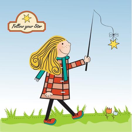 estrella caricatura: chica joven y ambicioso sigue a su estrella