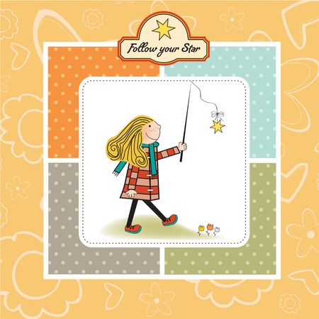 ambitious young girl follows his star Stock Vector - 11007835