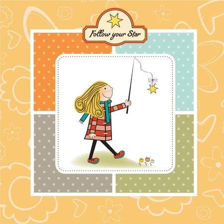 ambitious young girl follows his star Stock Vector - 11007835