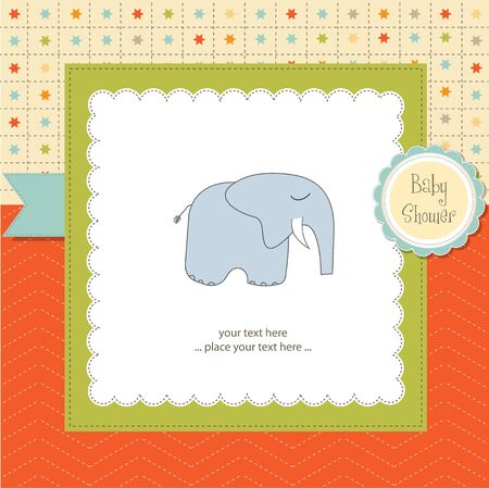 baby shower card with elephant Vector