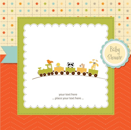 baby shower card with animal train Vector
