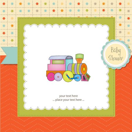 baby shower card with train Vector
