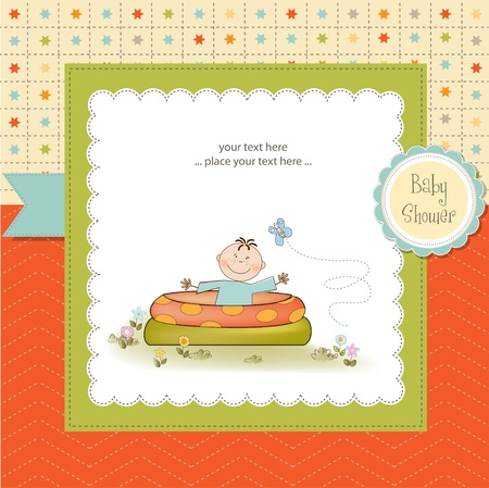 aby bathe in a small pool . shower announcement card Vector