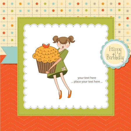 children eating: Happy Birthday card with girl and cupcake
