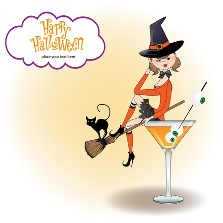 broomstick: sexy witch sits in a glass of poison