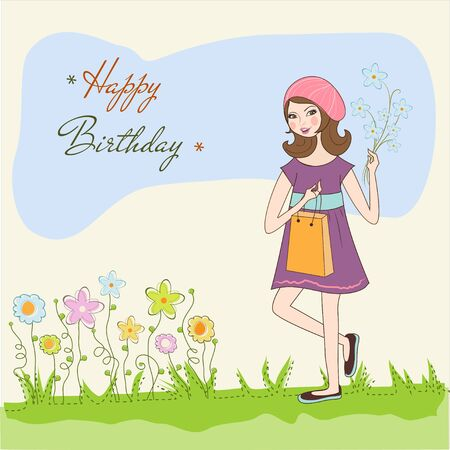 pretty girl with gift and flowers. birthday card Vector