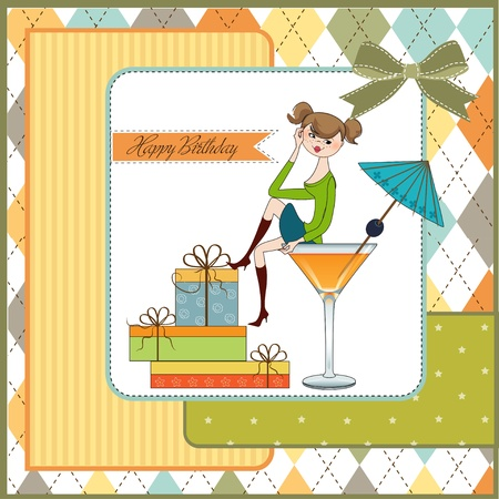 Attractive young girl sitting on the edge of a glass Vector