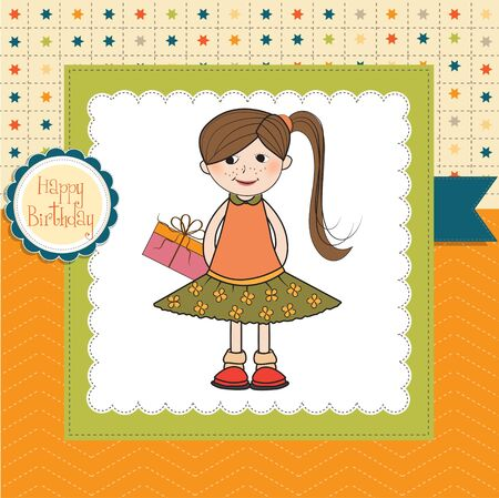 shy pretty girl with gift . birthday card Vector