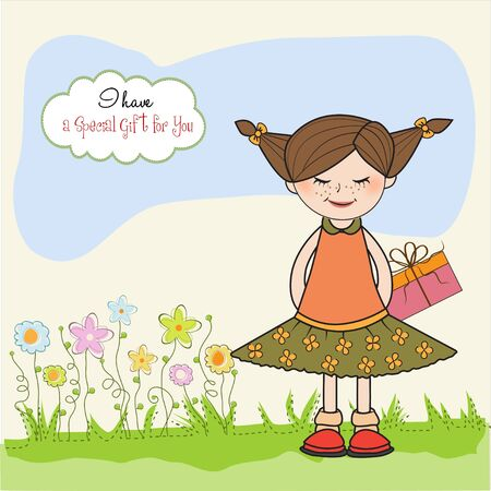 shy pretty girl with gift . birthday card Stock Vector - 11007967