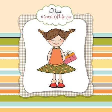 tímida muchacha bonita con el regalo. tarjeta de cumpleaños Ilustración de vector