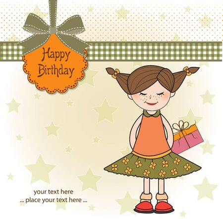 shyness: shy pretty girl with gift . birthday card