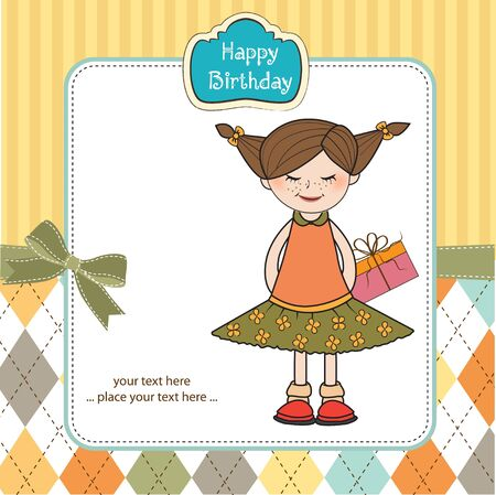 belle: shy pretty girl with gift . birthday card