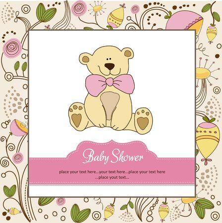 baby girl shower card Ilustração Vetorial