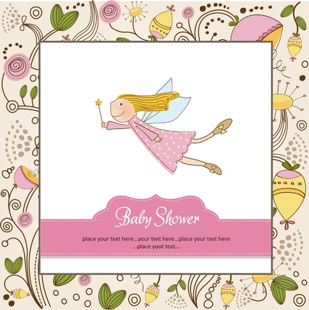 gentle: baby girl shower card Illustration