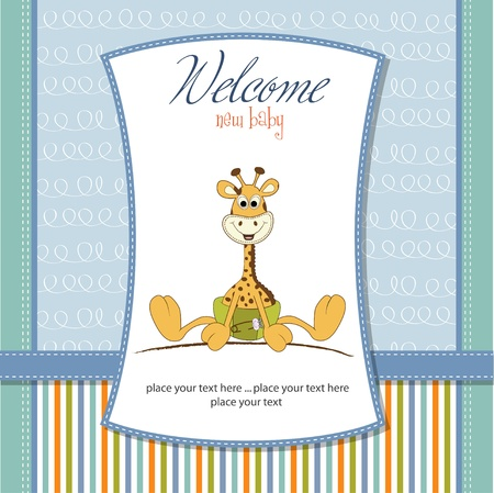 new baby announcement with baby giraffe  photo