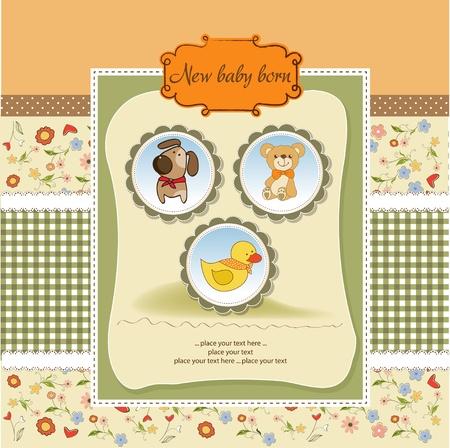 niños con pancarta: nuevo bebé anuncio de la tarjeta