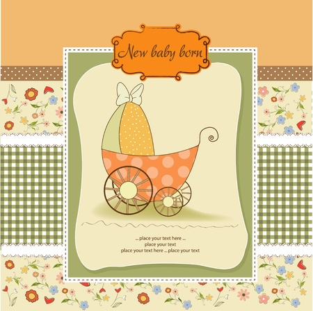 adoring: baby shower announcement card with pram