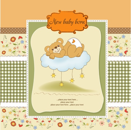 adoring: New baby shower card with spoiled teddy bear