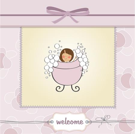 happy birthday girl: delicate baby girl shower card