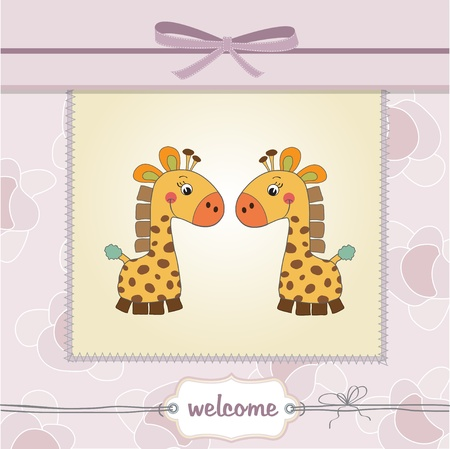 delicate baby twins shower card Stock Vector - 11358237