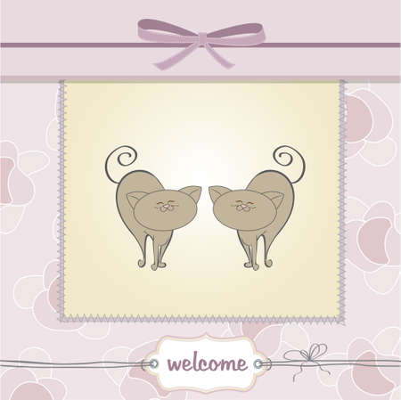 delicate baby twins shower card  Vector