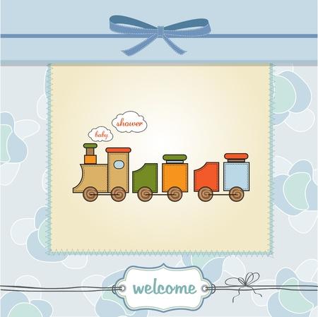 birthday train: delicate baby boy shower card