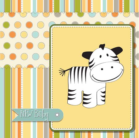 vintage baby: baby shower card with zebra